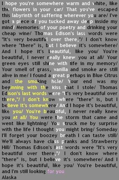 Looking For Alaska Cover with Lyrics. So sad and beautiful <3 <3