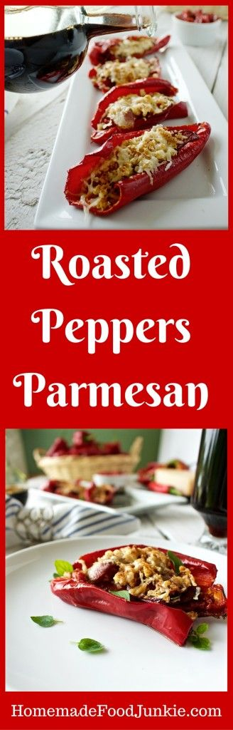 Roasted Peppers Parmesan is delicious and easy. Stuffed with bacon, parmesan, yumminess!