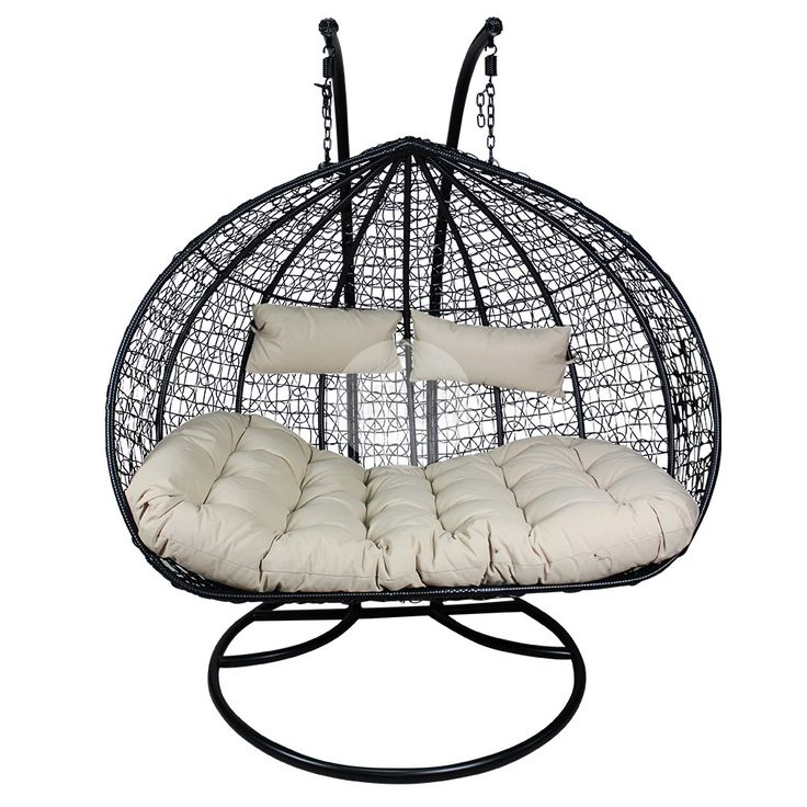 XL Double And A Half Hanging Egg Chair   Rattan Wicker Outdoor Furniture  Black/Cream