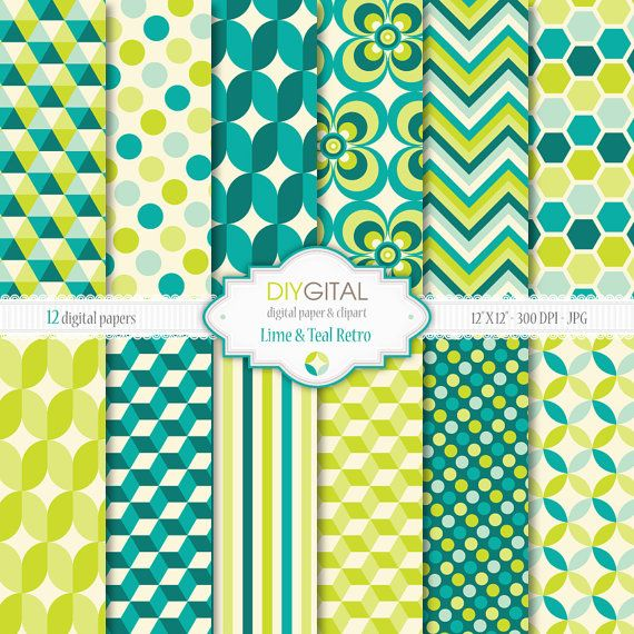Lime and Teal Retro- Retro geometric digital papers with lime and teal backgrounds for scrapbooking, graphics, cards- 70s style patterns