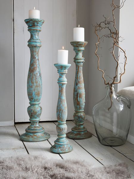 Distressed Turquoise Candle Holder - Nordic House