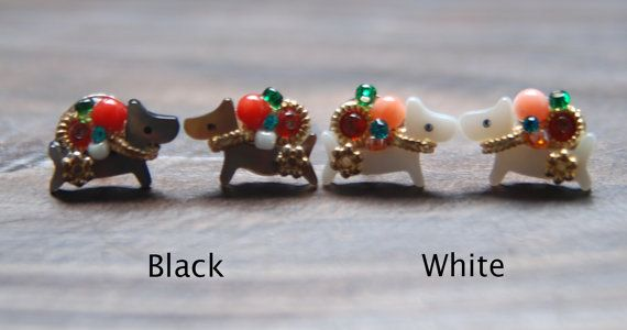 Gilded beautiful dog. beads shell earring. cute post by bijouroom, $18.00