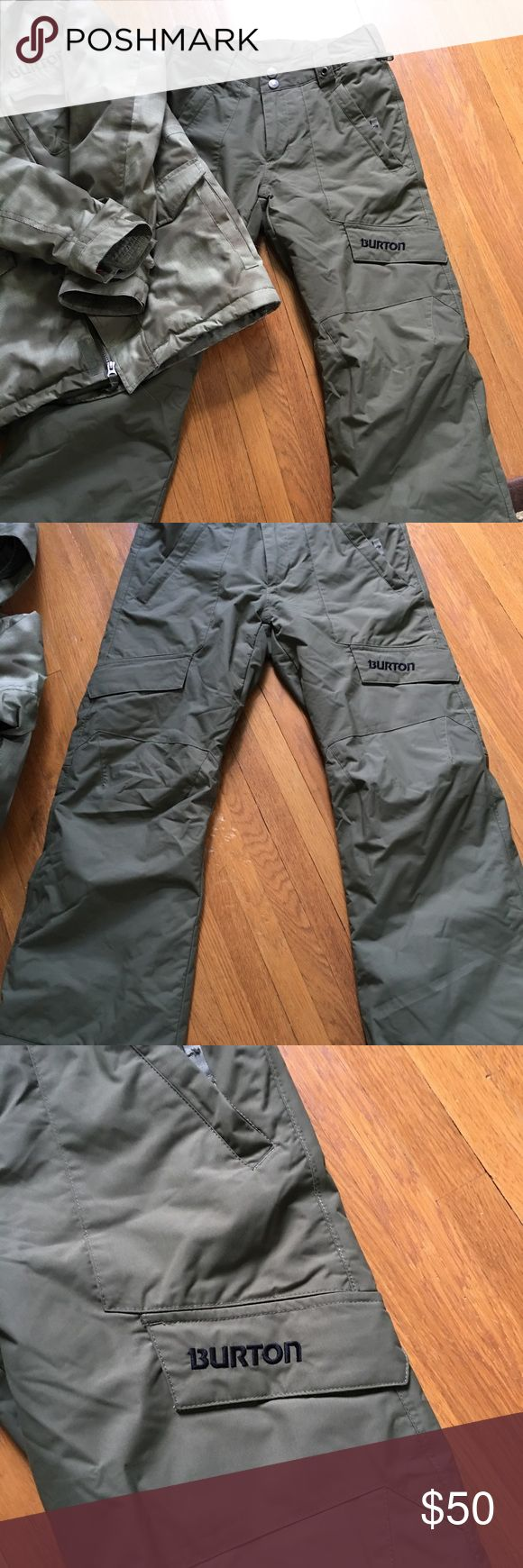 Burton snowboarding/ski pants! EUC! Boys Burton ski and snowboarding pants. Army green. Have in both size XL and L. The L fits like a size 12-14. The XL fits like a size 16-18. Listed separately. Check out the matching coat! Warm pants and excellent quality. Great shape! Look new! Burton Bottoms
