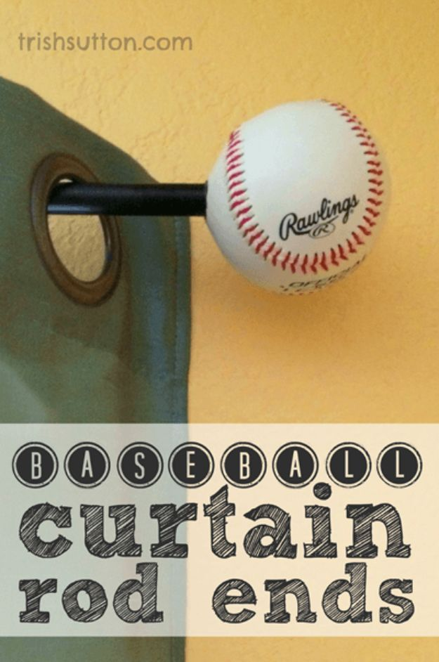 DIY Mancave Decor Ideas - Baseball Curtain Rod Ends - Step by Step Tutorials and Do It Yourself Projects for Your Man Cave - Easy DIY Furniture, Wall Art, Sinks, Coolers, Storage, Shelves, Games, Seating and Home Decor for Your Garage Room - Fun DIY Projects and Crafts for Men http://diyjoy.com/diy-mancave-ideas