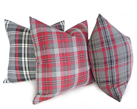 Red Plaid Throw Pillow Cover : Red Grey Plaid Pillows, 14x18, Red Gray Plaid Cushion Covers, Red Gray Lumbar Pillow, Rustic ...