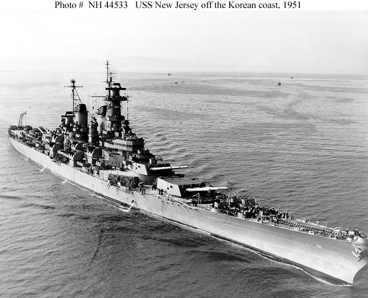 Korean War US Navy Ships | Photograph is dated 18 May 1951, the day after New Jersey arrived off ...