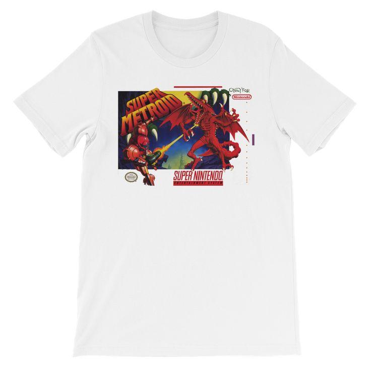 Super Metroid SNES Box Cover Art Retro Video Gamer Short-Sleeve Unisex T-Shirt