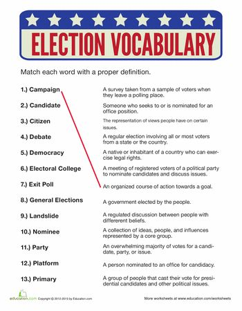 Worksheets: Election Vocabulary