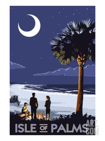 Isle of Palms, South Carolina - Palmetto Moon Art Print at Art.com