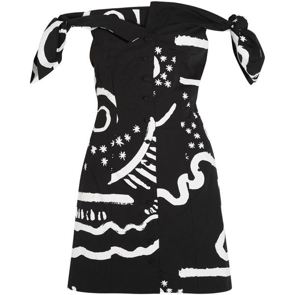Isa Arfen Off-the-shoulder printed cotton-blend mini dress (77570 RSD) ❤ liked on Polyvore featuring dresses, black, tie dress, tribal dress, mini dress, off shoulder short dress and off the shoulder short dress