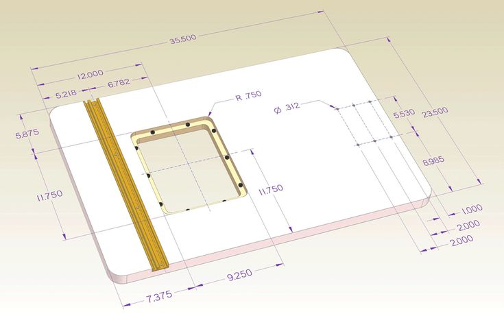 """INCRA 24"""" x 36"""" Offset Router Table Top Dimensions"""