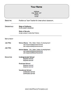 This resume for teachers goes beyond listing credential information and  includes room for all teaching positions.