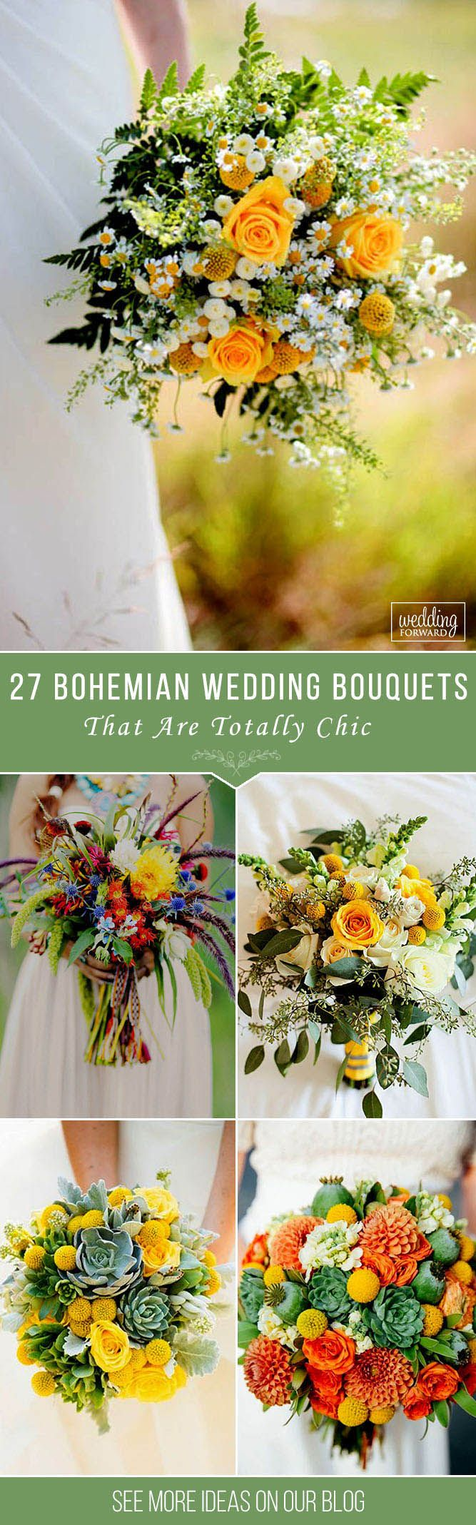 27 Bohemian Wedding Bouquets That Are Totally Chic ❤ Bohemian wedding bouquets are full of whimsical details, wild flowers and feathers. This inspiration gallery of boho-chic wedding bouquets is sure to create an amazing vibe. See more: http://www.weddingforward.com/bohemian-wedding-bouquets/ #wedding #bouquets