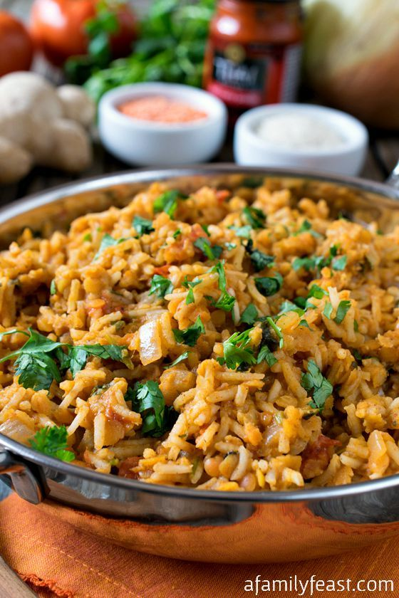 Curried Rice Pilaf with Red Lentils - A zesty, flavorful side dish or meatless meal. Easy to make and super delicious!