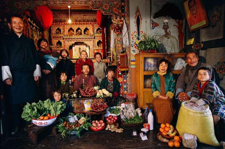 Bhutan: The Namgay family of Shingkhey Village.  Food expenditure for one week: 224.93 ngultrum or $5.03. Family recipe: Mushroom, cheese and pork.