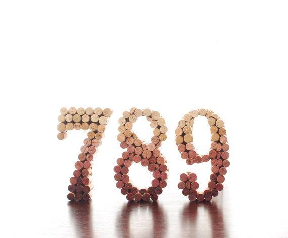 Wine Cork Number, Table Numbers, Wine Table Number, Ten Upcycled Wine Cork Table Numbers (1-10) (Weddings, Birthday Parties, Gala)