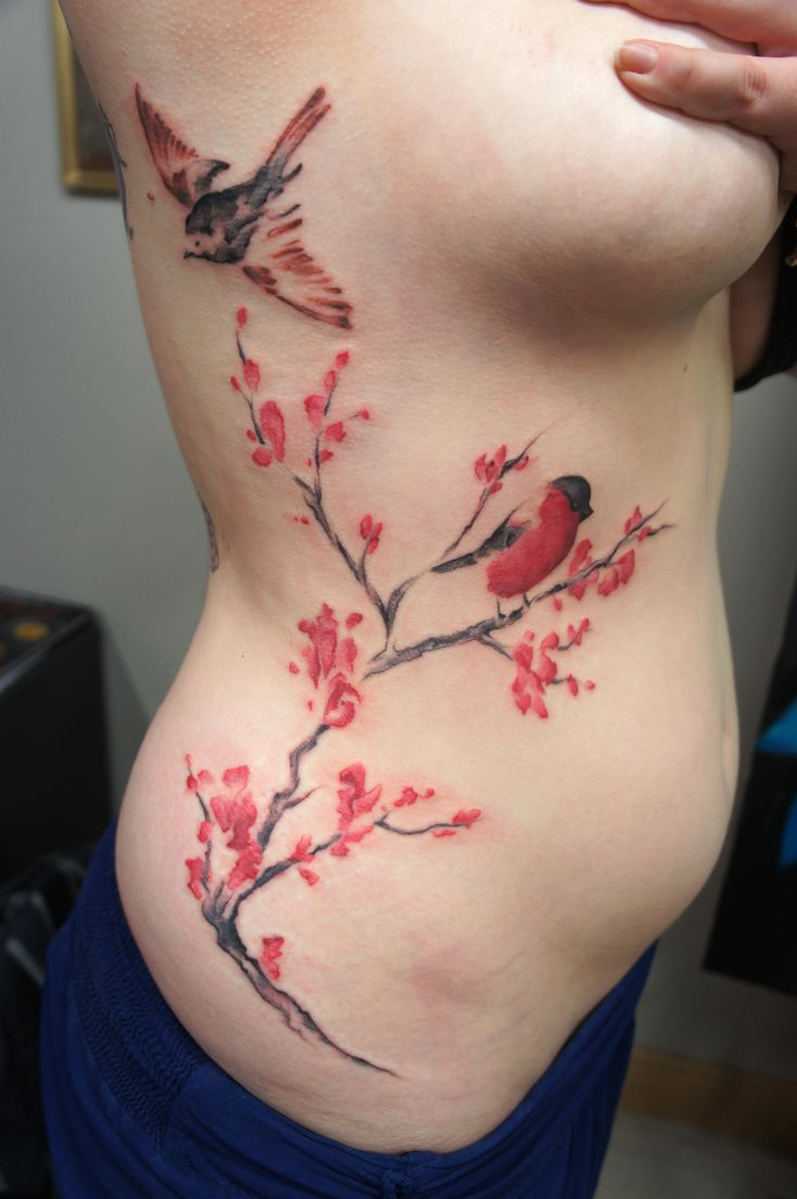 #watercolor #tree #branches #flowers #birds #color #ribs #Dublin #tattoo
