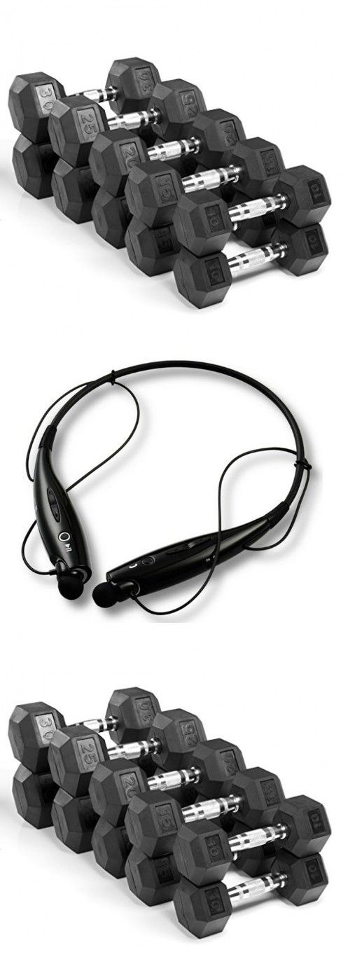 XMark Fitness 200 lb. Premium Quality Rubber Coated Hex Dumbbell Set is Built Tough, Built to Last XM-3301-200S Exclusive Workout Bundle with BONUS Bluetooth Headphones