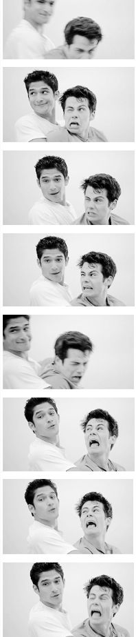 Many faces of Scott and Stiles at lacrosse practice - Tyler Posey + Dylan O'Brien :: Teen Wolf