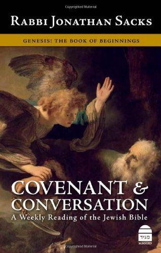 Covenant & Conversation: A Weekly Reading of the Jewish Bible, Genesis: The Book of Beginnings by Jonathan Sacks http://www.amazon.co.uk/dp/1592640206/ref=cm_sw_r_pi_dp_rL2Rvb0BNNQYE