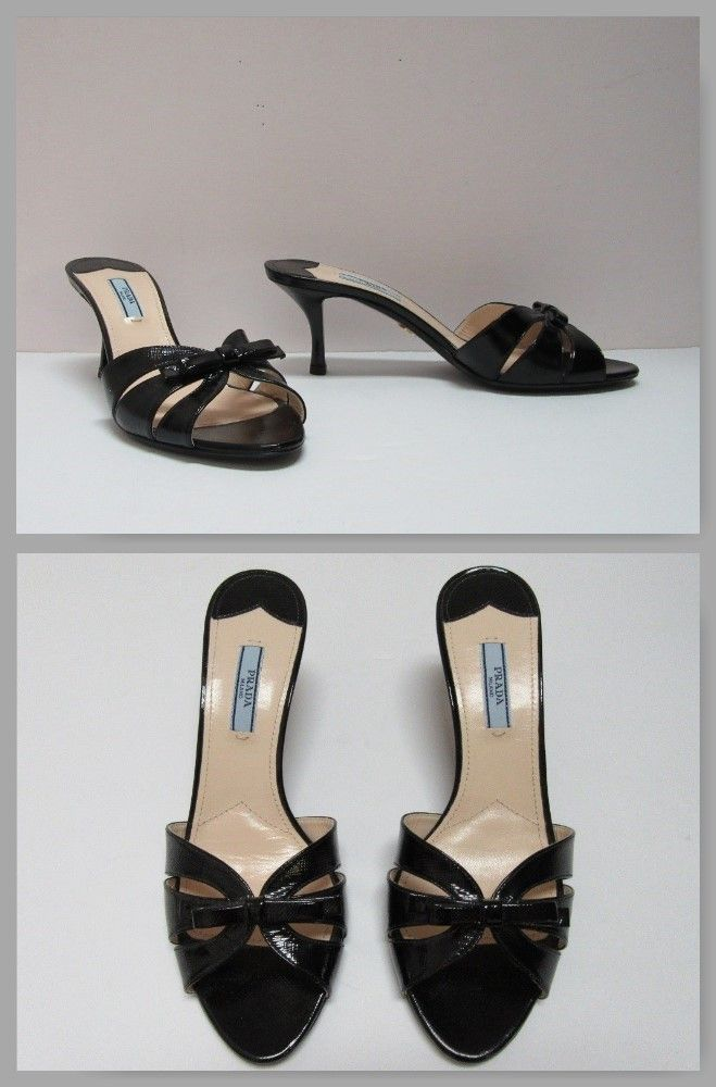 Prada black patent leather slide with bow & kitten heel, size 7.5. New. #Prada #summerstyle #PayPal