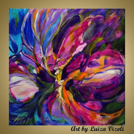 Konda Art Framed Handmade Purple Flower Oil Painting On: ABSTRACT IRIS FLOWER Original Impasto Oil Painting Very