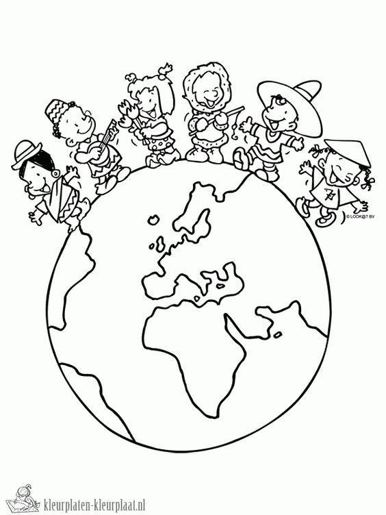 Dünya çocuk Günü Okul öncesi Boyama Sayfaları Sınırlı Boyama