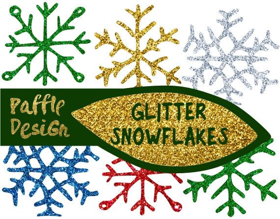 Christmas Clip Art - Glitter Snowflakes - 15 snowflakes 3 shapes 5 colors - Handdrawn Christmas clip art by Paffle Design