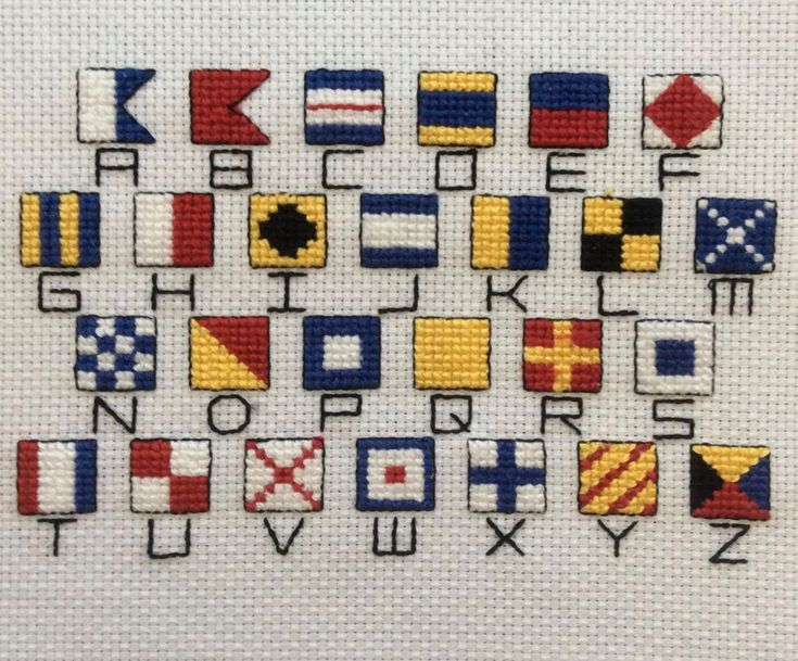 Nautical Flag Alphabet  https://www.etsy.com/listing/269972361/cross-stitch-pattern-of-nautical-flag