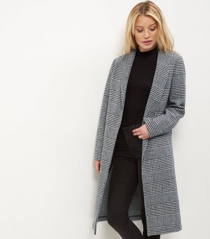 Grey Check Longline Coat | New Look