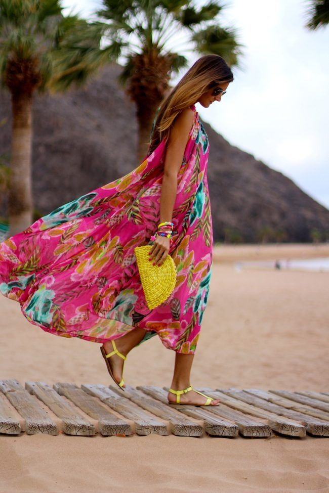 Summer maxi dress#pink floral# beach wear#bright neon sandal and clutch-ish  GG's tiny times ♥