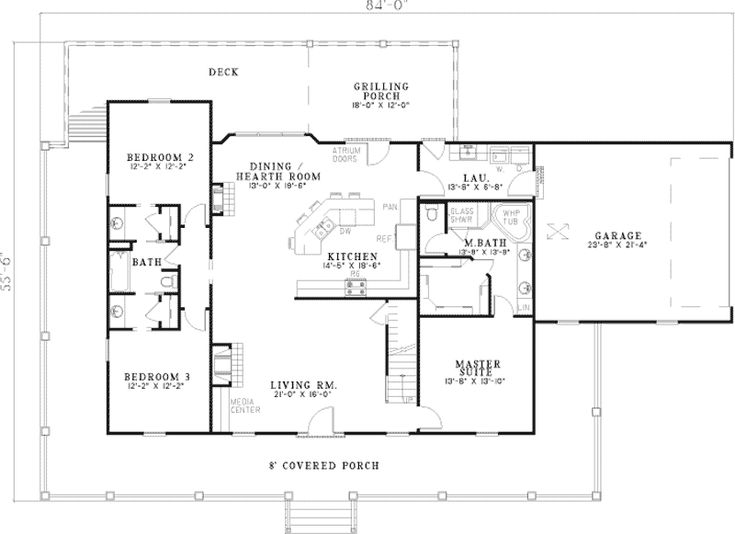 The Welsberg Lowcountry Home has 3 bedrooms and 3 full baths.