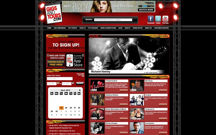 Website for Gigs and Tours with SJM - Created by Modern-English Digital
