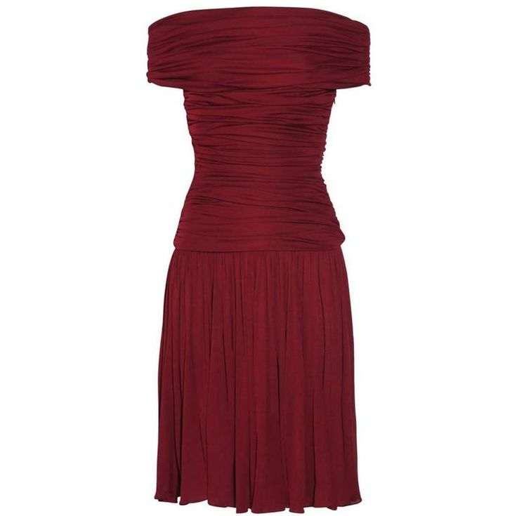 New GIAMBATTISTA VALLI Stretch Satin Off-the-Shoulder Dress Burgundy