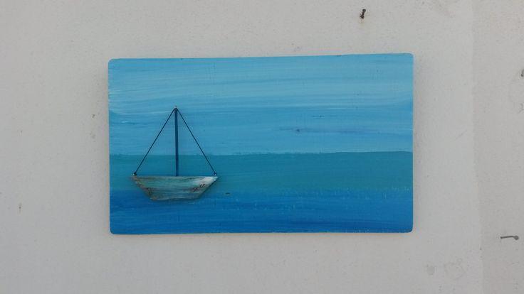 Aqua Blue Nautical Wallhanging,  Driftwood Sign Mediterranean Style, Aqua Blue Wall Decor, Driftwood Wallhanging, Driftwood Boat,  Blue Sign by WillyaCollection on Etsy