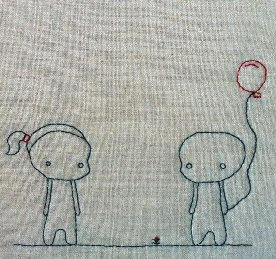 Lucy and Tommy and a red balloon Embroidered by QuirkeryStitchery,