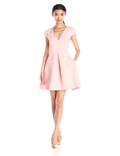 HALSTON HERITAGE Cap Sleeve V-Neck Structure Dress with Cut Out Back, Lotus Pink - http://www.womansindex.com/halston-heritage-cap-sleeve-v-neck-structure-dress-with-cut-out-back-lotus-pink/ #HALSTONHERITAGE #Dress