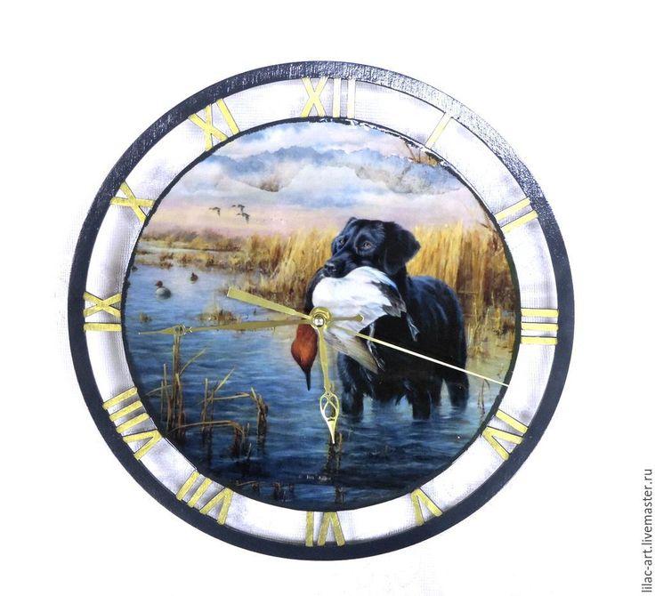 """Купить Часы """"Черный лабрадор на охоте"""" - тёмно-синий, часы ручной работы, часы настенные"""