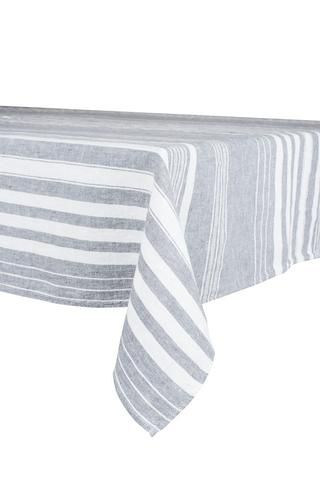 Harmony - Nappe en lin lavé carrée avec rayures St-Remy gris-silex - 100% Lin - 170*170 cm
