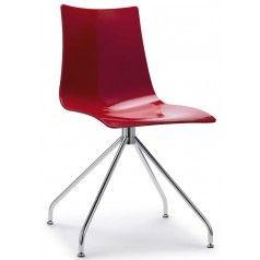 Sedia in policarbonato e struttura in acciaio girevole su trespolo h74106 rosso pieno