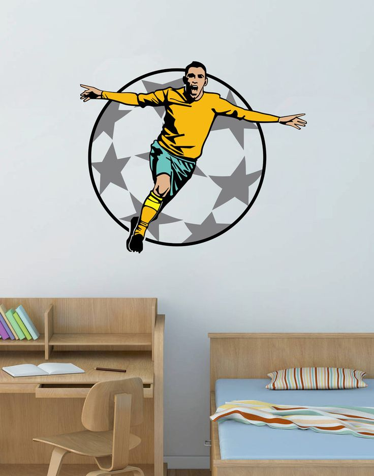 cik151 Full Color Wall decal European football footballer living room children's room