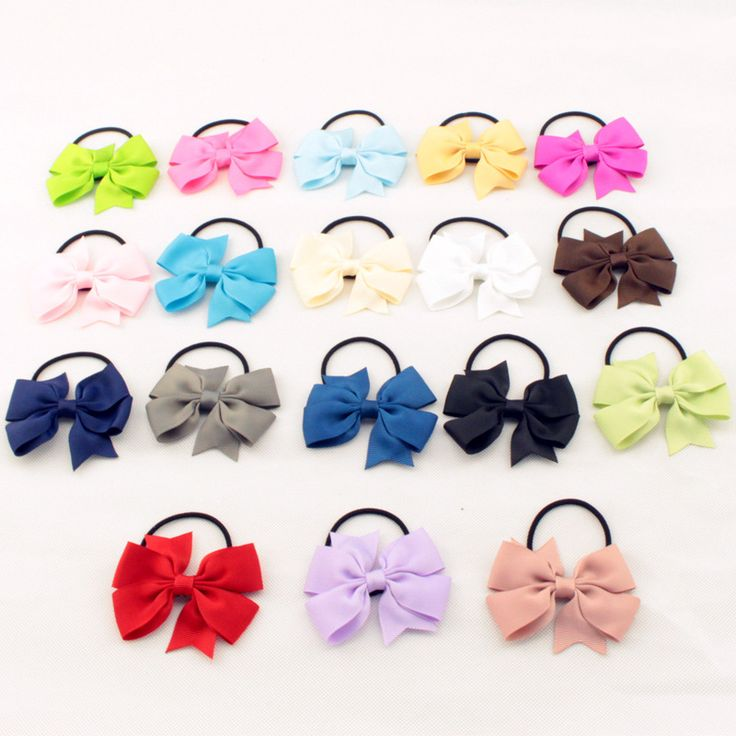 Fashion Cute Baby Girls Ribbon Bow Elastic Hair Bands Rope Hair Accessories Gift 20 Colors