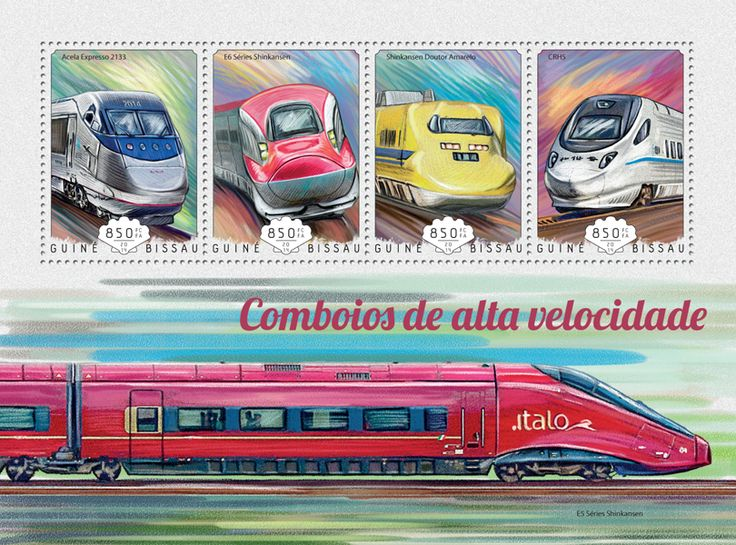 Post stamp Guinea-Bissau GB 14703 a	Speed trains (Acela Express 2133, {…}, CRH5)