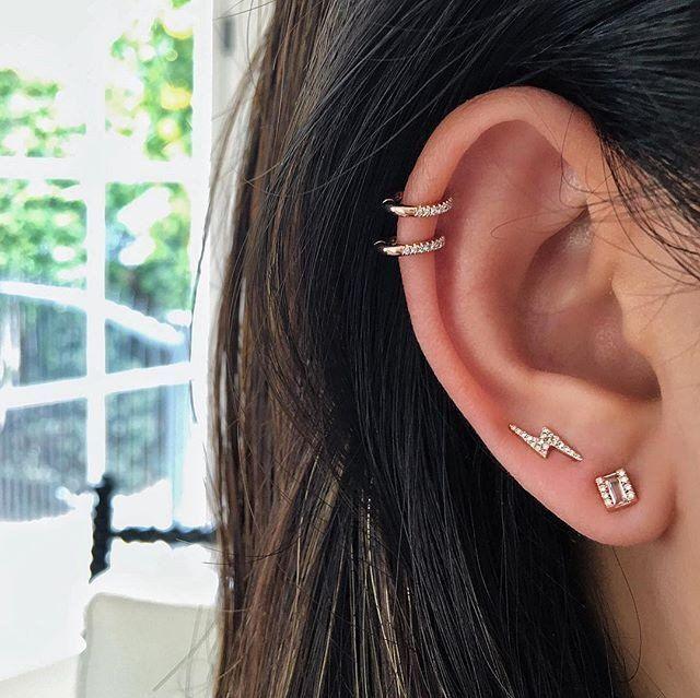EF Collection Diamond Lightning Bolt Ear Cuff - 3