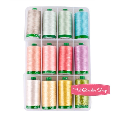 Eye Candy Aurifil Thread Box Pat Bravo #PB40EC12  #FQSgiftguide  #friendsandfamily  3 sisters...do you think they would fight over this assortment of Aurifil threads...or do they each get 4 spools in their stockings?