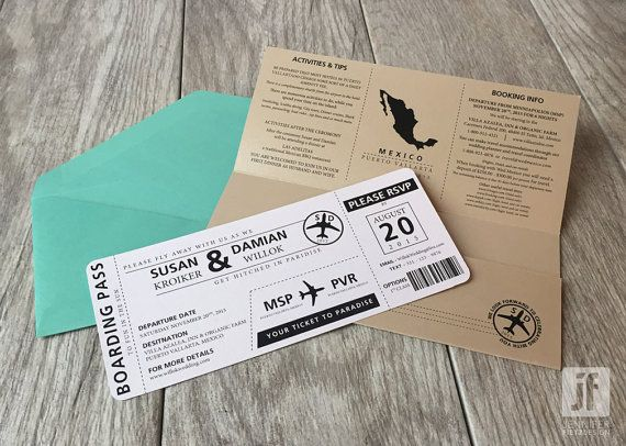 Destination Wedding Boarding Pass Travel by JFietzDesign on Etsy