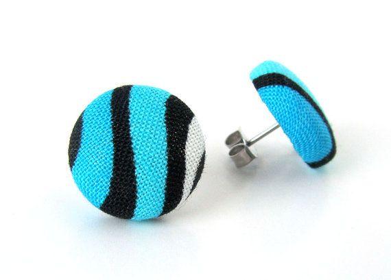SALE Blue button earrings  blue fabric earrings  by KooKooCraft