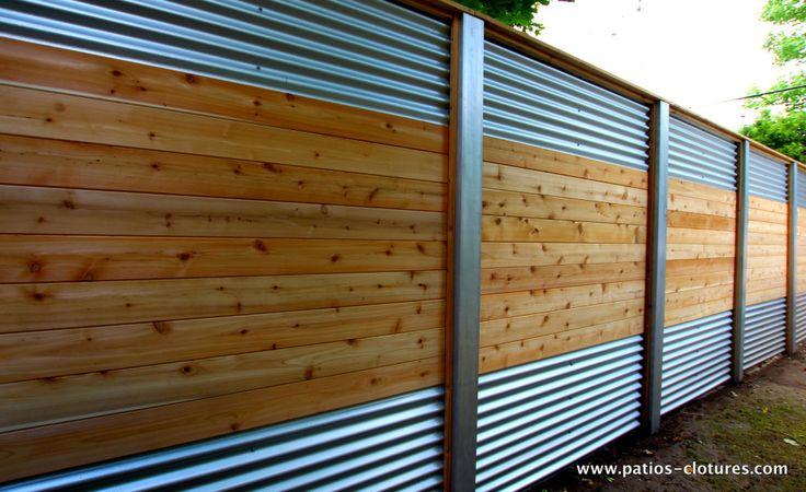 Hybrid fence with galvanized steel, aluminum and cedar Lecompte