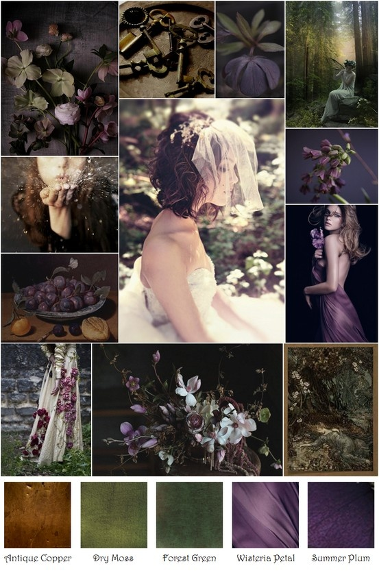 Plum Purple Wisteria Moss Forest Green Copper Inspiration Board
