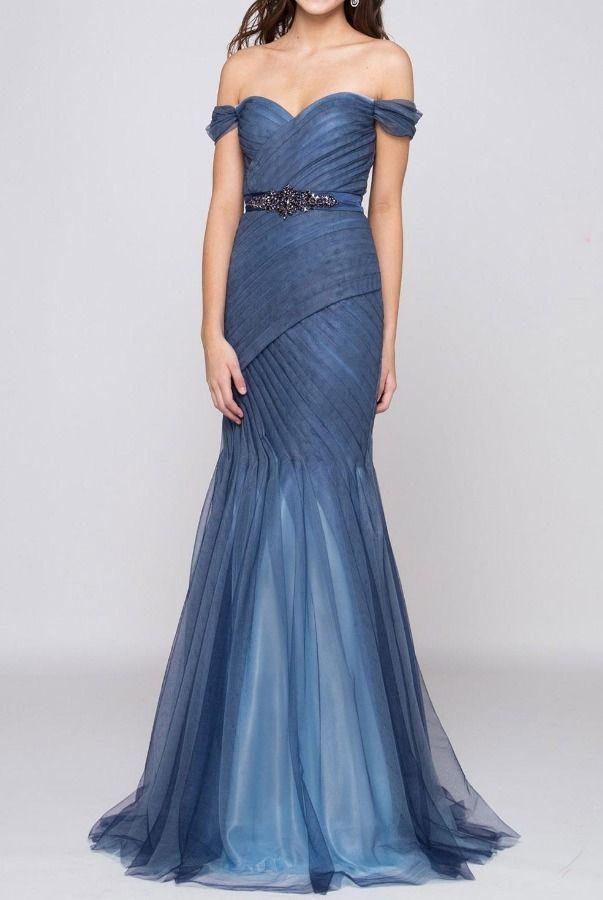 Colors Marsoni M184 Slate Blue Off Shoulder Mermaid Gown Poshare